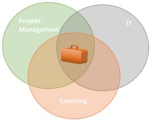 Grafik zum Methodenkoffer der projektpraxis: er setzt sich aus Methoden aus dem Projektmanagement, der IT allgemein und aus Methoden aus dem Coaching zusammen.